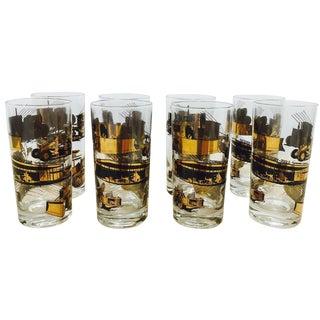 Vintage Culver-Style Gold Cocktail Glasses - Set of 8