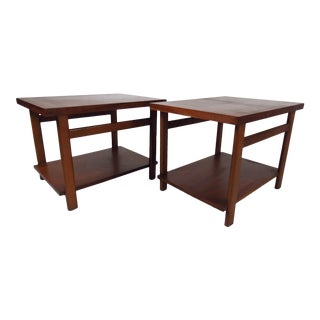 Pair of Mid-Century Modern Walnut End Tables by Lane For Sale