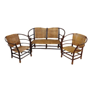 Antique 1920s Bentwood Settee and Chairs -Salon - Set of 3 For Sale
