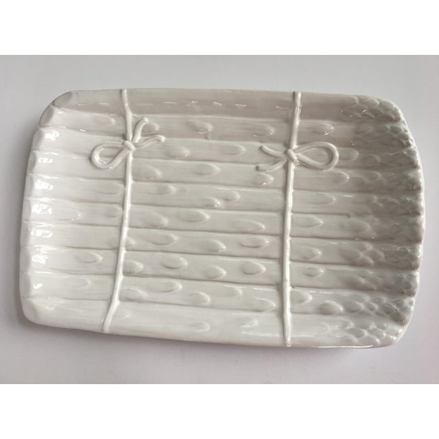 Farmhouse Large - White on White Glazed Asparagus Platter Made in Portugal For Sale - Image 3 of 11