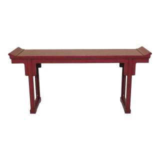 1990s Asian Baker Red Console Table For Sale