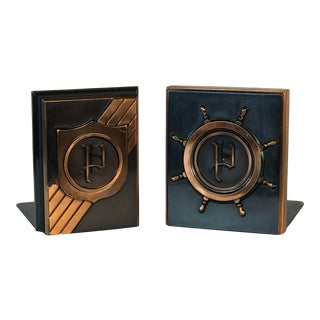 1960s Copper Monogrammed Bookends, Pair For Sale