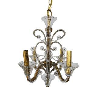 4-Light Crystal Beaded Chandelier For Sale