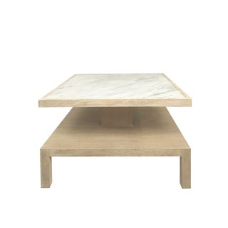 Modern History White Washed Wood Marble Top Coffee Table Preview