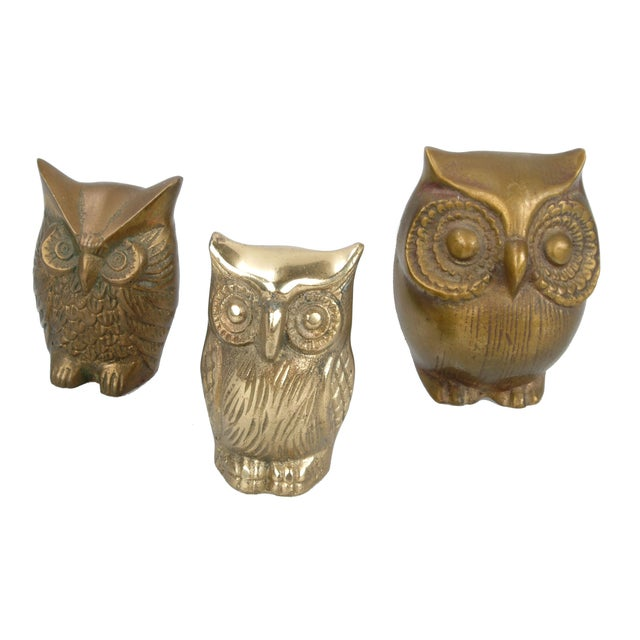 Brass Owl Figurines - Set of 3 - Image 2 of 6