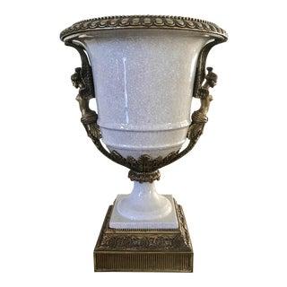 Neoclassical Porcelain & Bronze Guardian Vase For Sale