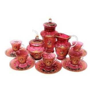 Vintage Antique Venetian Tea Set - 15 Pieces For Sale