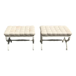 1910s Vintage French Louis XVI Barrel Legs Seating Benches - a Pair For Sale