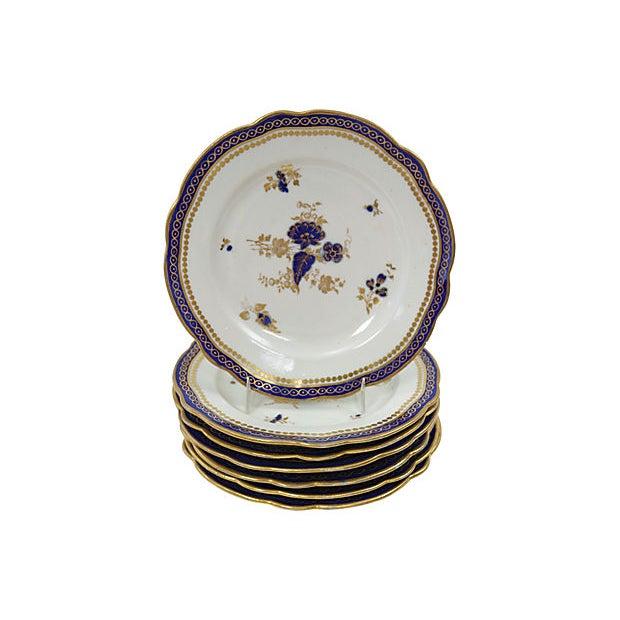 Antique English Porcelain Plates, C. 1780 - Set of 7 For Sale - Image 4 of 4