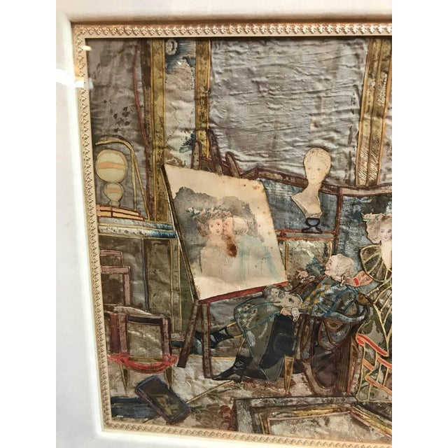 French 19th Century French Interior Scene Collage of Silk and Paper For Sale - Image 3 of 9