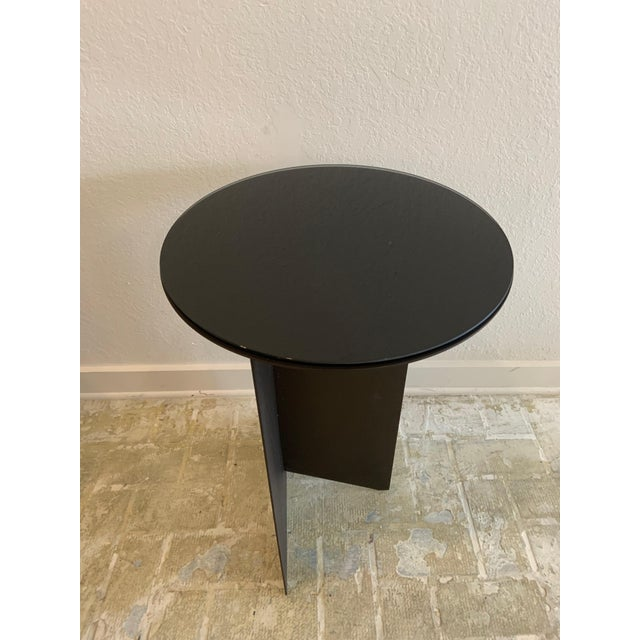Mid-Century Modern Contemporary Black Iron and Glass Side Table For Sale - Image 3 of 4