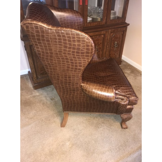 Ethan Allen Ethan Allen Giles Leather Chair For Sale - Image 4 of 6