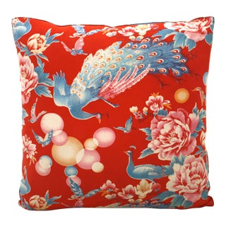 Chinese Peacock and Bubbles Pillow