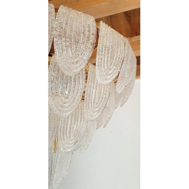 Metal Large Mid Century Modern Clear Murano Glass Chandelier, Mazzega Style, Italy 1970s For Sale - Image 7 of 11