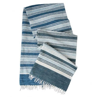 """Blue & White Handwoven Striped Rug - 5' x 8'6"""""""