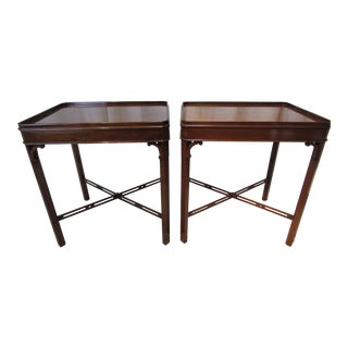 English Chippendale Style Mahogany Side Tables - a Pair For Sale