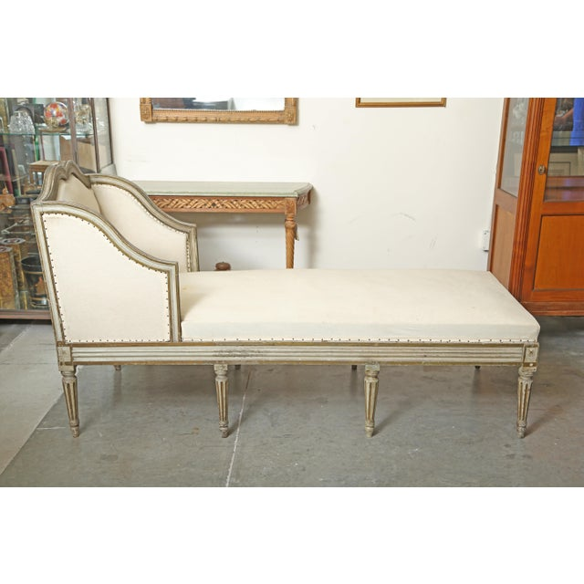 Wood Louis XVI Chaise in Original Paint For Sale - Image 7 of 9