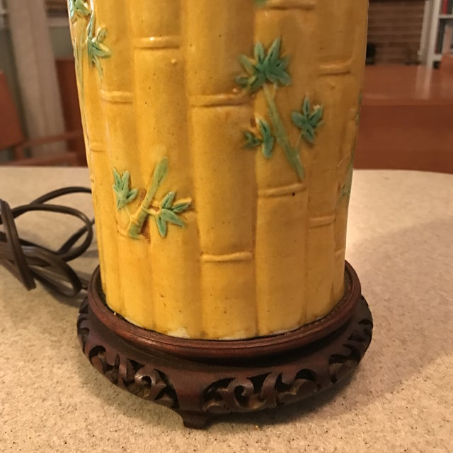 Asian Bamboo Motif Lamp - Image 5 of 11