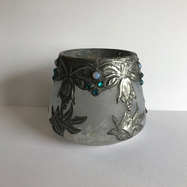 Art Glass Art Glass Vase With Silvered Metal Overlay For Sale - Image 7 of 7