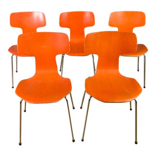 Five Arne Jacobsen Orange Hammer Chairs, Fritz Hansen 1974 For Sale