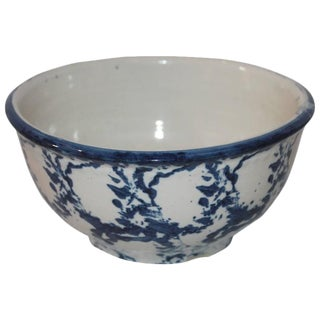 19th Century Sponge Ware Pottery Serving Bowl For Sale
