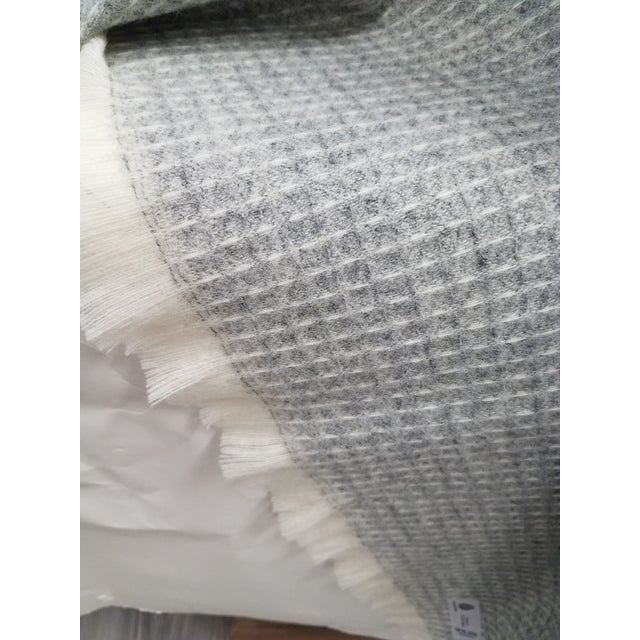 Gray Wool Throw - Gray Waffle Weave Made in England For Sale - Image 8 of 9