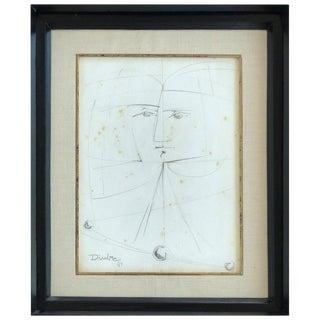 Cuban Artist Rolando López Dirube Abstract Pencil Sketch, 1987 For Sale