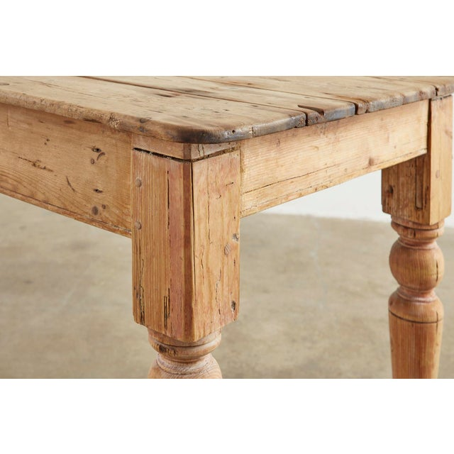 19th Century American Country Pine Farmhouse Dining Table For Sale - Image 9 of 13
