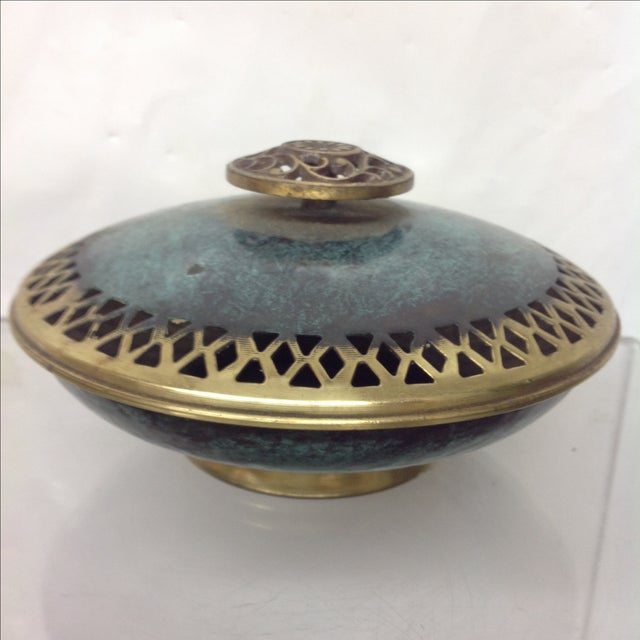Offered is a boho style patinated & incised brass covered dish. Wonderful for holding potpourri or treasures on your...