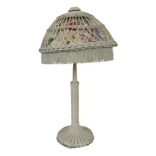 Antique Shabby Cottage Bar Harbour Wicker Table Lamp For Sale