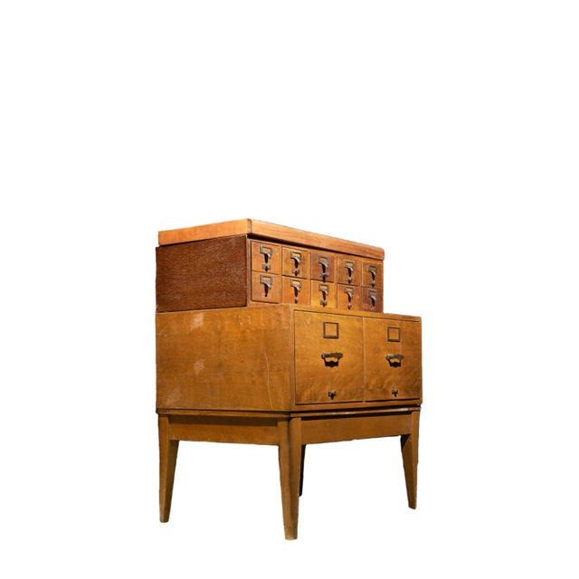 1950s 1950s Mid Century Standing Card Catalogue and File Cabinet For Sale - Image 5 of 8