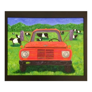 Contemporary Painting on Canvas- Old Truck and Cows For Sale