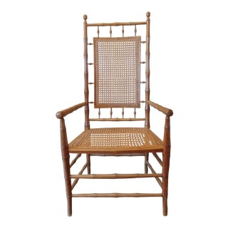 Mid-Century Faux Bamboo Captain's Chair For Sale