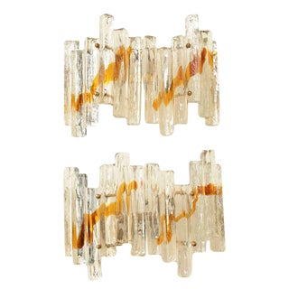 "Pair of Venini Murano Glass Mazzega Sculptural ""Staggered"" Pendant Sconces"