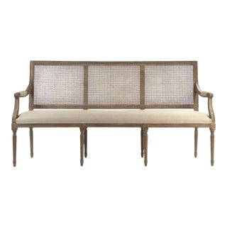 Audley Cane Back Bench in Beige For Sale