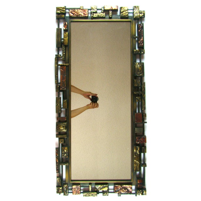 2e1b896ffff50 For sale is this large Mid-Century Modern Brutalist Paul Evans Style Mirror  by Syroco