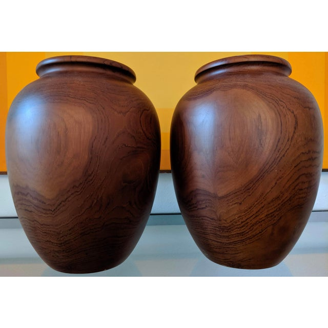 Wood Oversize Turned Walnut Vessels, a Pair For Sale - Image 7 of 12