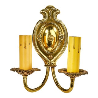 Antique French Style Stamped Brass Two Arm Wall Sconce For Sale