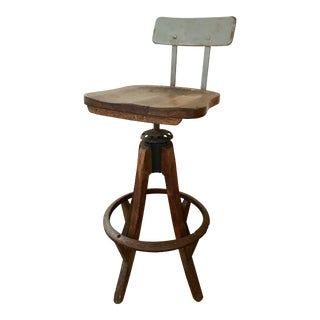 Oak & Iron Industrial Bar Stool For Sale