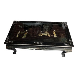 Asian/Oriental Inlaid Black Coffee Table, 1930s For Sale