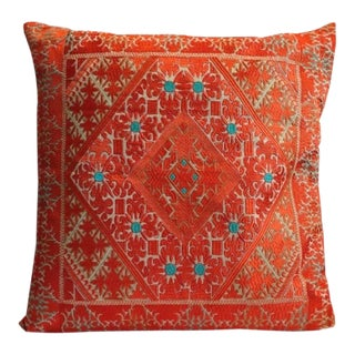 """Swati Embroidered Pillow Orange 24"""" X 24"""" For Sale"""