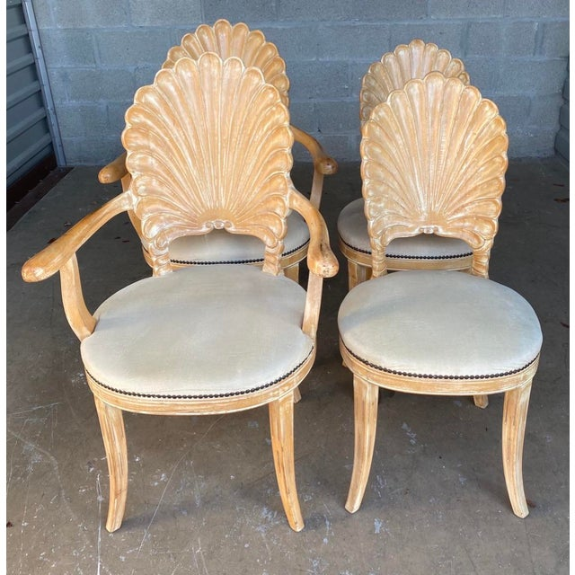 Shell Vintage Hollywood Regency Hand Carved Grotto Chairs - Set of 4 For Sale - Image 7 of 7