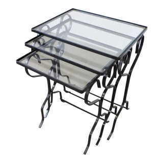 Set of 3 Wrought Iron Meadowcraft Dogwood Iron Outdoor Patio Nesting Tables For Sale