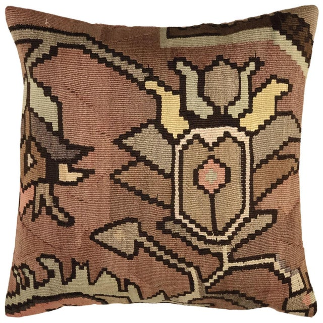 """Shabby Chic Subdued Floral Kilim Pillow 