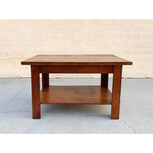 Antique American Craftsman Library/ Work Table, Solid Oak For Sale - Image 10 of 10