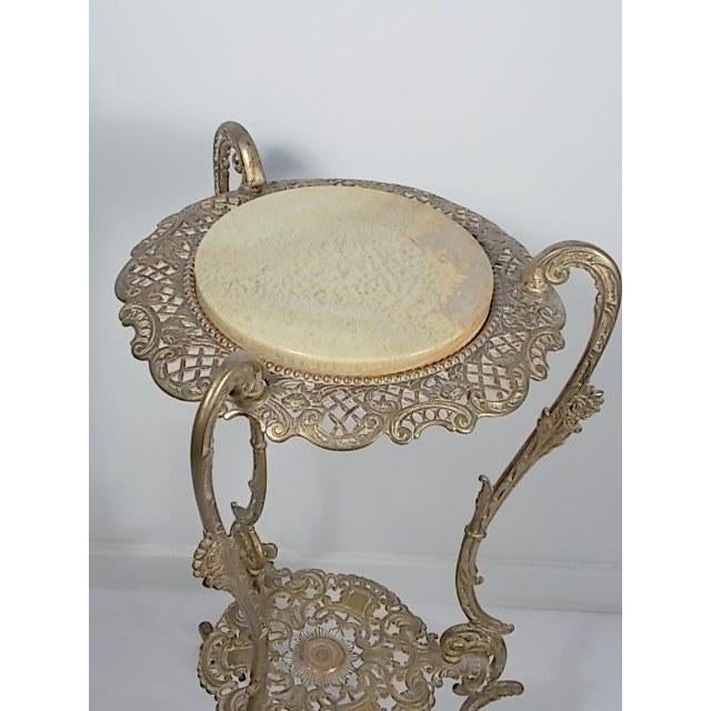 Vintage Victorian Style Brass & Marble Top Filigree Stand For Sale - Image 9 of 10