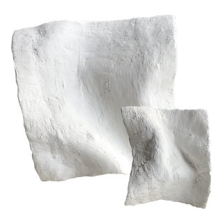 'Warped Squares' Plaster Sculptures - a Pair For Sale