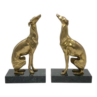 Tall Brass Greyhound Dog Bookends on Marble Plinth Base - a Pair