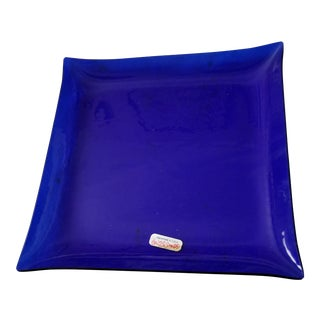 Last Call. 1970s Contemporary Square Blue Glass Tray For Sale