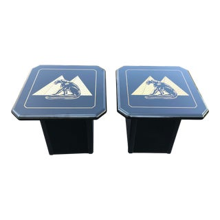 Postmodern Black Lacquered Gold Pyramids and Panther End Tables - a Pair For Sale